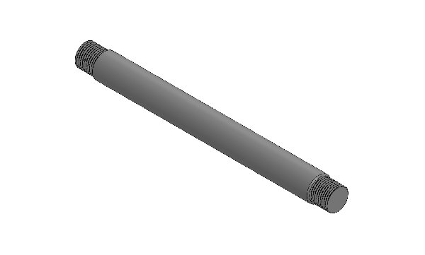 NAKED PLASTIC TRACK ROD HEXAGONAL 210MM - BLACK ANODIZED