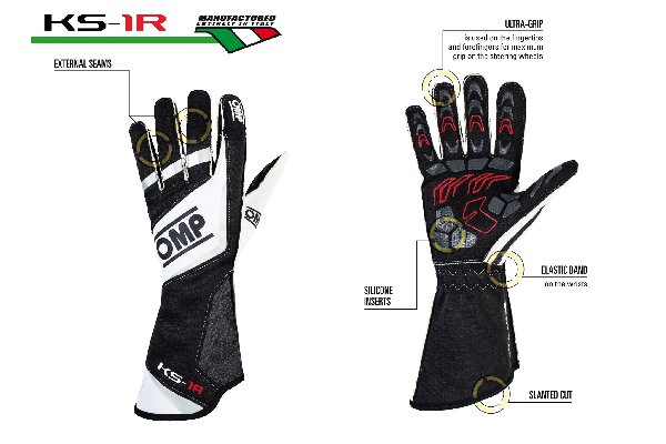 OMP KS-1R BLACK GLOVES - (XS, S, M, L)