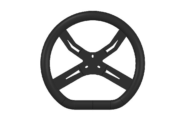 REINFORCED STEERING WHEEL BLACK FOR RENTAL 340MM