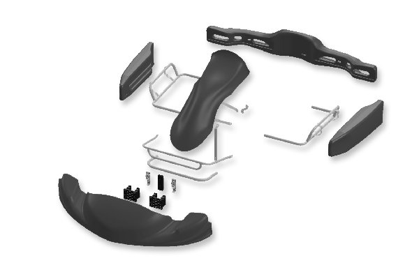 BODYWORKS SET EUROSTAR MINI DYNAMICA + FRONT ATTACHMENT CIK - BLACK