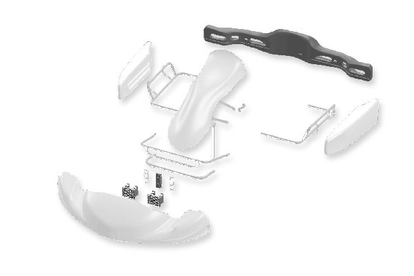 BODYWORKS SET EUROSTAR DYNAMICA + FRONT ATTACHMENT CIK - PEARL WHITE