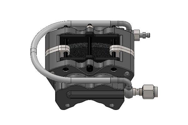 REAR HYDRAULIC BRAKE CALIPER XT40 FOR SELF VENTILATED DISC TH.18MM - BLACK ANODIZED