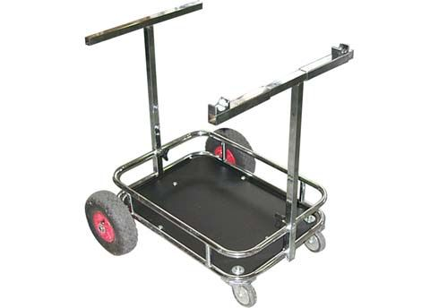 CHROMED KART TROLLEY WITH BLACK FLOOR TRAY